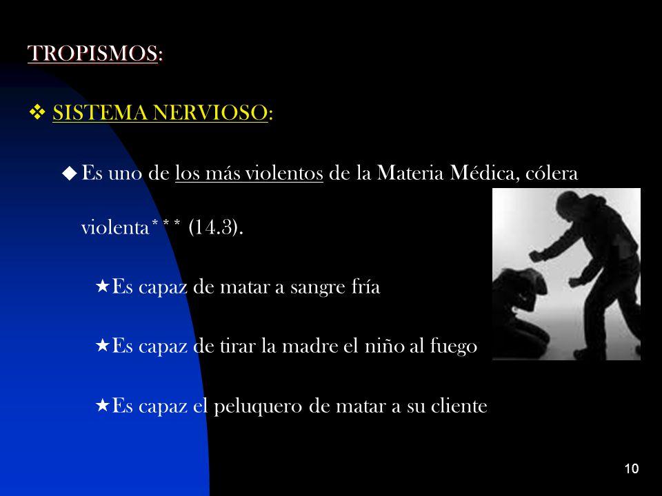 10 TROPISMOS: SISTEMA NERVIOSO: Es uno de los más violentos de la Materia Médica, cólera violenta*** (14.3).