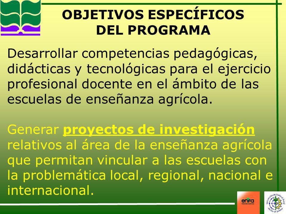 OBJETIVOS ESPECÍFICOS DEL PROGRAMA Desarrollar competencias pedagógicas, didácticas y tecnológicas para el ejercicio profesional docente en el ámbito