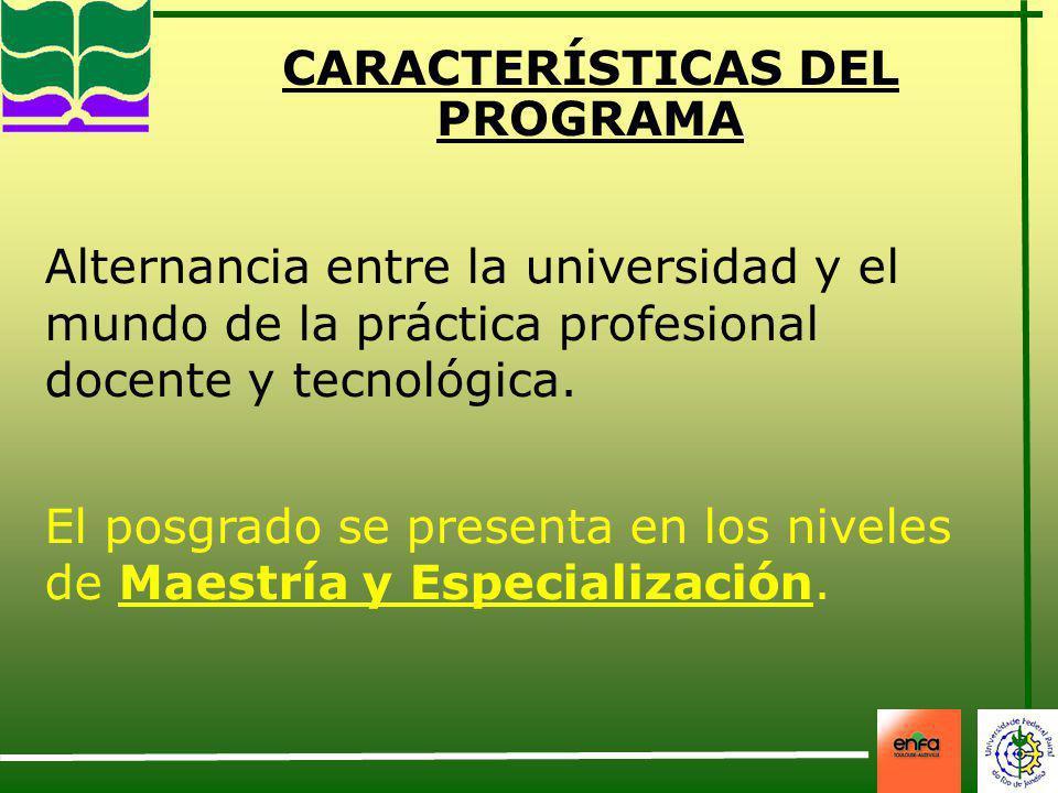 CARACTERÍSTICAS DEL PROGRAMA Alternancia entre la universidad y el mundo de la práctica profesional docente y tecnológica. El posgrado se presenta en