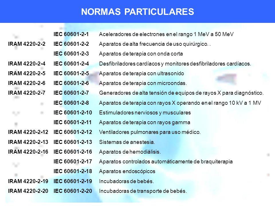 NORMAS PARTICULARES IEC 60601-2-1Aceleradores de electrones en el rango 1 MeV a 50 MeV IRAM 4220-2-2IEC 60601-2-2Aparatos de alta frecuencia de uso quirúrgico..