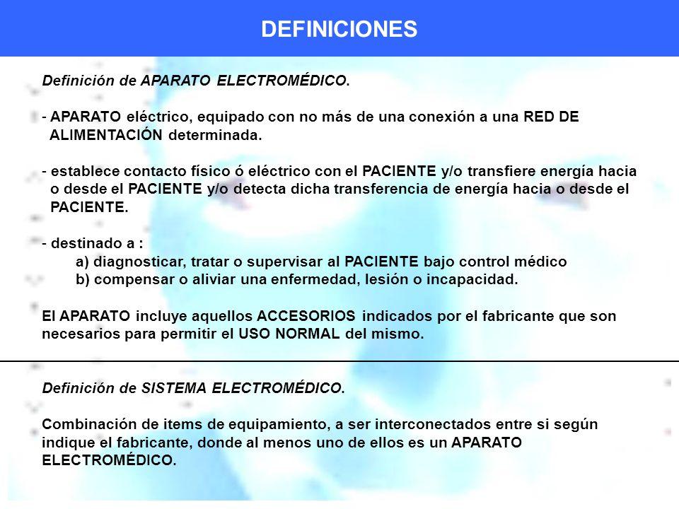 DEFINICIONES Definición de APARATO ELECTROMÉDICO.