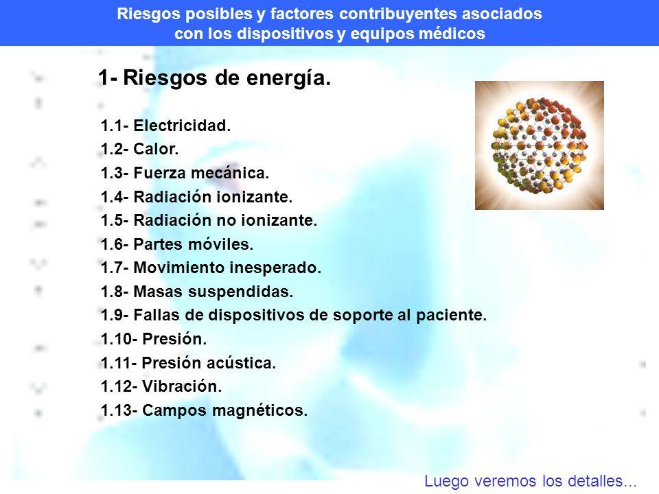 Riesgos posibles y factores contribuyentes asociados con los dispositivos y equipos médicos 1- Riesgos de energía.