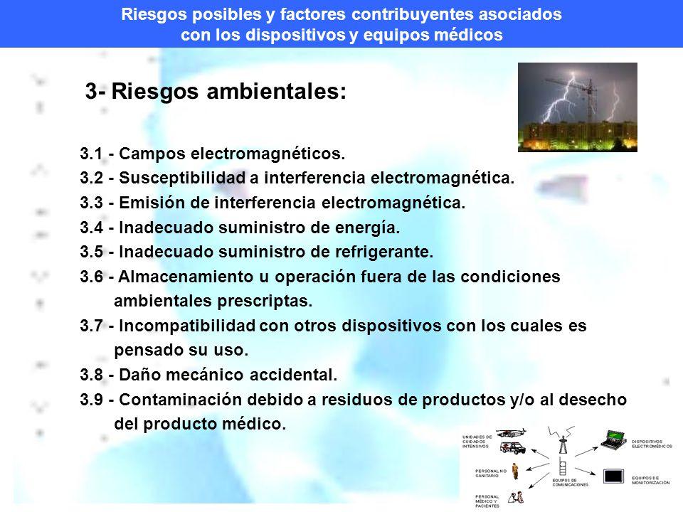 Riesgos posibles y factores contribuyentes asociados con los dispositivos y equipos médicos 3- Riesgos ambientales: 3.1 - Campos electromagnéticos.