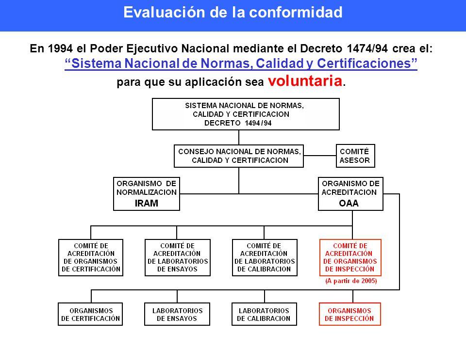 En 1994 el Poder Ejecutivo Nacional mediante el Decreto 1474/94 crea el: Sistema Nacional de Normas, Calidad y Certificaciones para que su aplicación sea voluntaria.