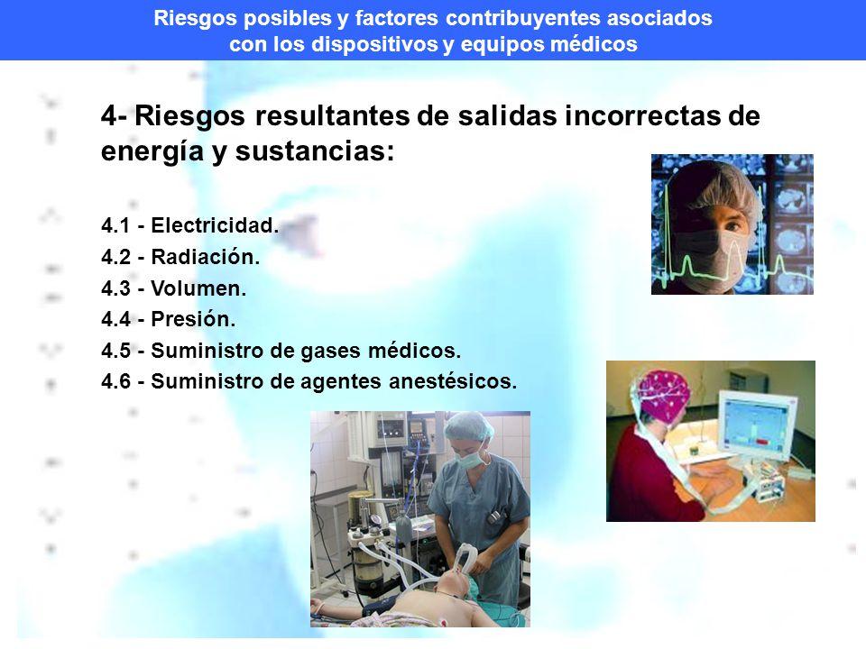 Riesgos posibles y factores contribuyentes asociados con los dispositivos y equipos médicos 4- Riesgos resultantes de salidas incorrectas de energía y sustancias: 4.1 - Electricidad.