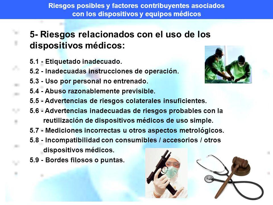 Riesgos posibles y factores contribuyentes asociados con los dispositivos y equipos médicos 5- Riesgos relacionados con el uso de los dispositivos médicos: 5.1 - Etiquetado inadecuado.