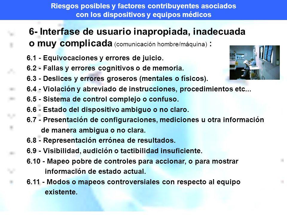 Riesgos posibles y factores contribuyentes asociados con los dispositivos y equipos médicos 6- Interfase de usuario inapropiada, inadecuada o muy complicada (comunicación hombre/máquina) : 6.1 - Equivocaciones y errores de juicio.