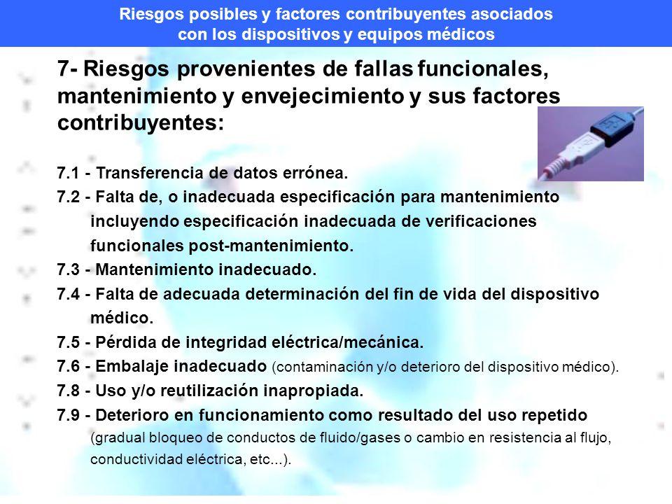Riesgos posibles y factores contribuyentes asociados con los dispositivos y equipos médicos 7- Riesgos provenientes de fallas funcionales, mantenimiento y envejecimiento y sus factores contribuyentes: 7.1 - Transferencia de datos errónea.