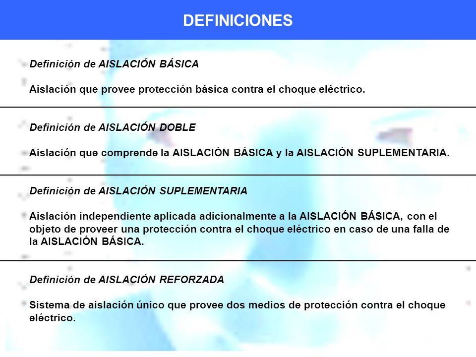 DEFINICIONES Definición de AISLACIÓN BÁSICA Aislación que provee protección básica contra el choque eléctrico.
