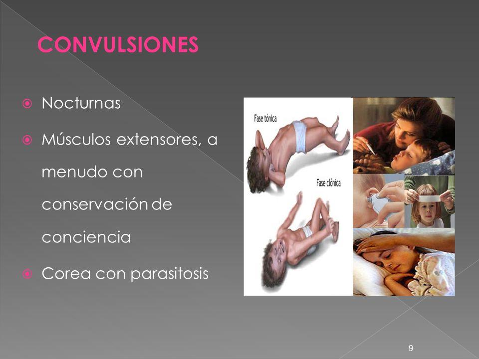 9 Nocturnas Músculos extensores, a menudo con conservación de conciencia Corea con parasitosis CONVULSIONES