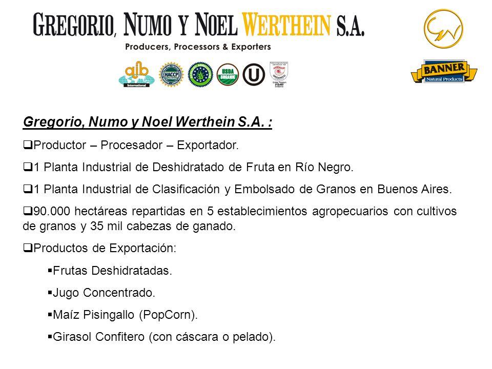 Gregorio, Numo y Noel Werthein S.A. : Productor – Procesador – Exportador. 1 Planta Industrial de Deshidratado de Fruta en Río Negro. 1 Planta Industr