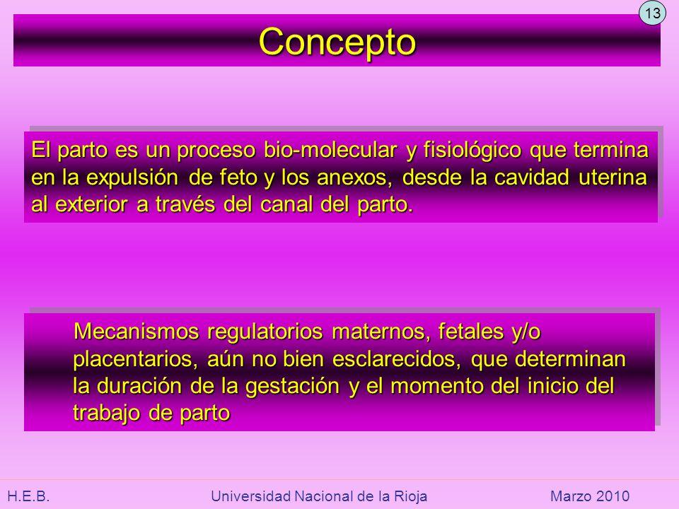 H.E.B. Universidad Nacional de la RiojaMarzo 2010 El parto es un proceso bio-molecular y fisiológico que termina en la expulsión de feto y los anexos,