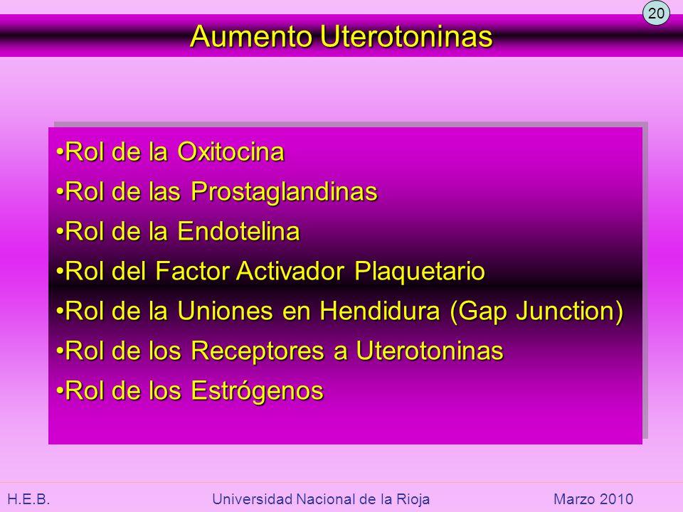 H.E.B. Universidad Nacional de la RiojaMarzo 2010 Aumento Uterotoninas Rol de la OxitocinaRol de la Oxitocina Rol de las ProstaglandinasRol de las Pro