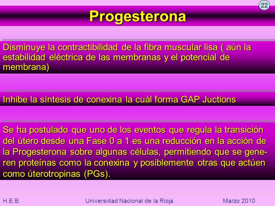 H.E.B. Universidad Nacional de la RiojaMarzo 2010 Progesterona Disminuye la contractibilidad de la fibra muscular lisa ( aún la estabilidad eléctrica
