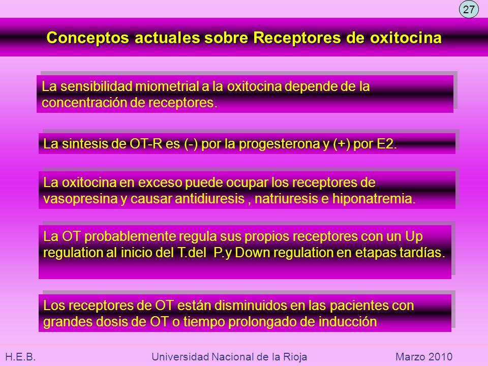 H.E.B. Universidad Nacional de la RiojaMarzo 2010 Conceptos actuales sobre Receptores de oxitocina La sensibilidad miometrial a la oxitocina depende d