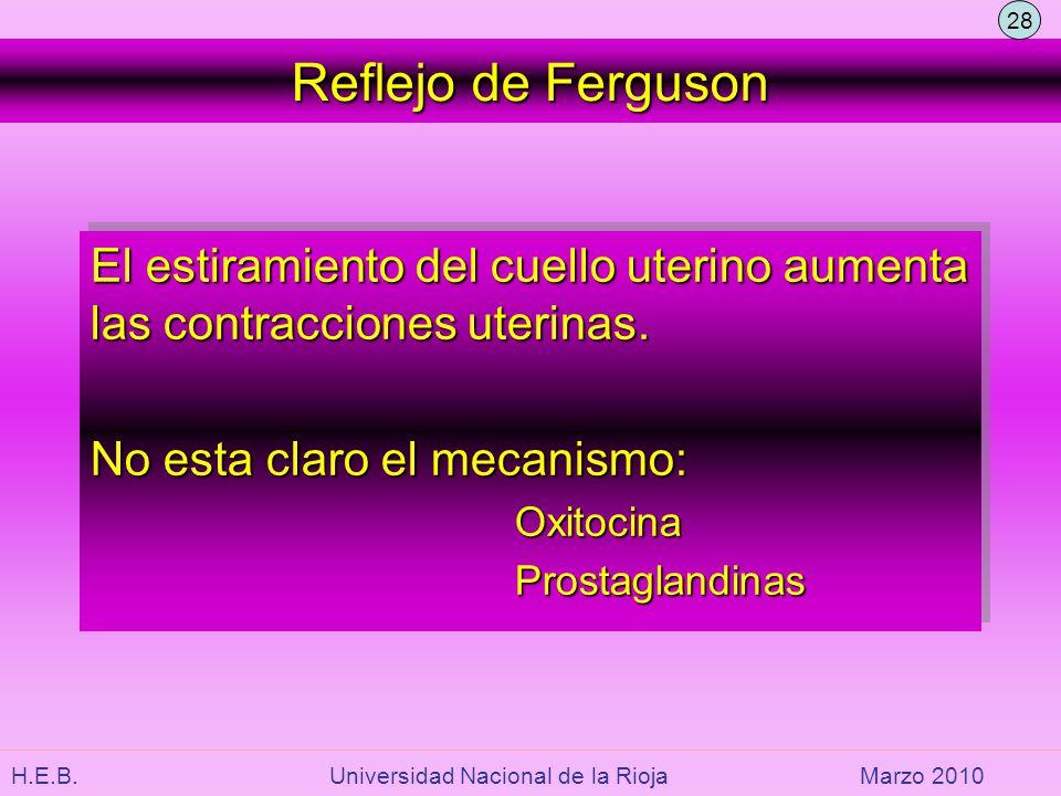H.E.B. Universidad Nacional de la RiojaMarzo 2010 Reflejo de Ferguson El estiramiento del cuello uterino aumenta las contracciones uterinas. No esta c