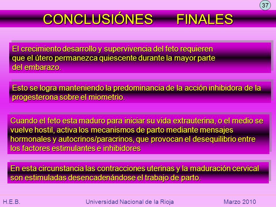 H.E.B. Universidad Nacional de la RiojaMarzo 2010 CONCLUSIÓNES FINALES El crecimiento desarrollo y supervivencia del feto requieren que el útero perma