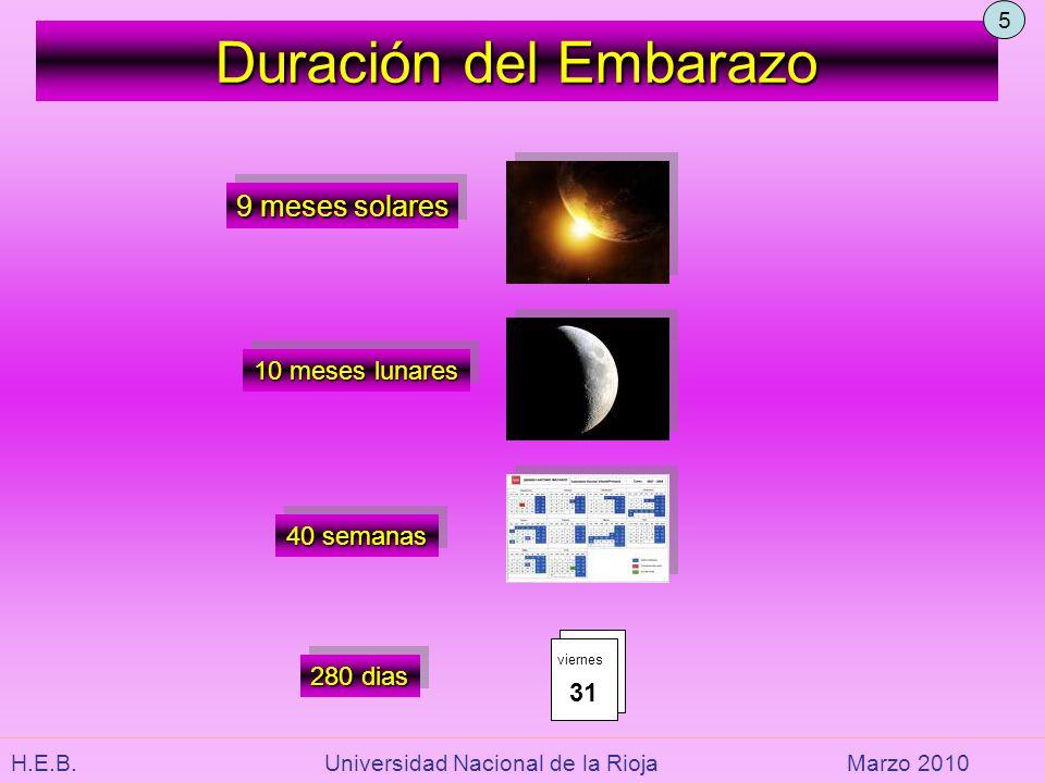 Duración del Embarazo 9 meses solares 10 meses lunares 40 semanas 280 dias 31 viernes 5