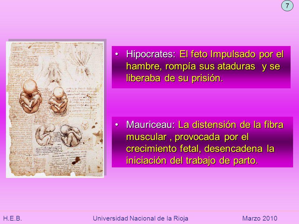 H.E.B. Universidad Nacional de la RiojaMarzo 2010 Hipocrates: El feto Impulsado por el hambre, rompía sus ataduras y se liberaba de su prisión.Hipocra