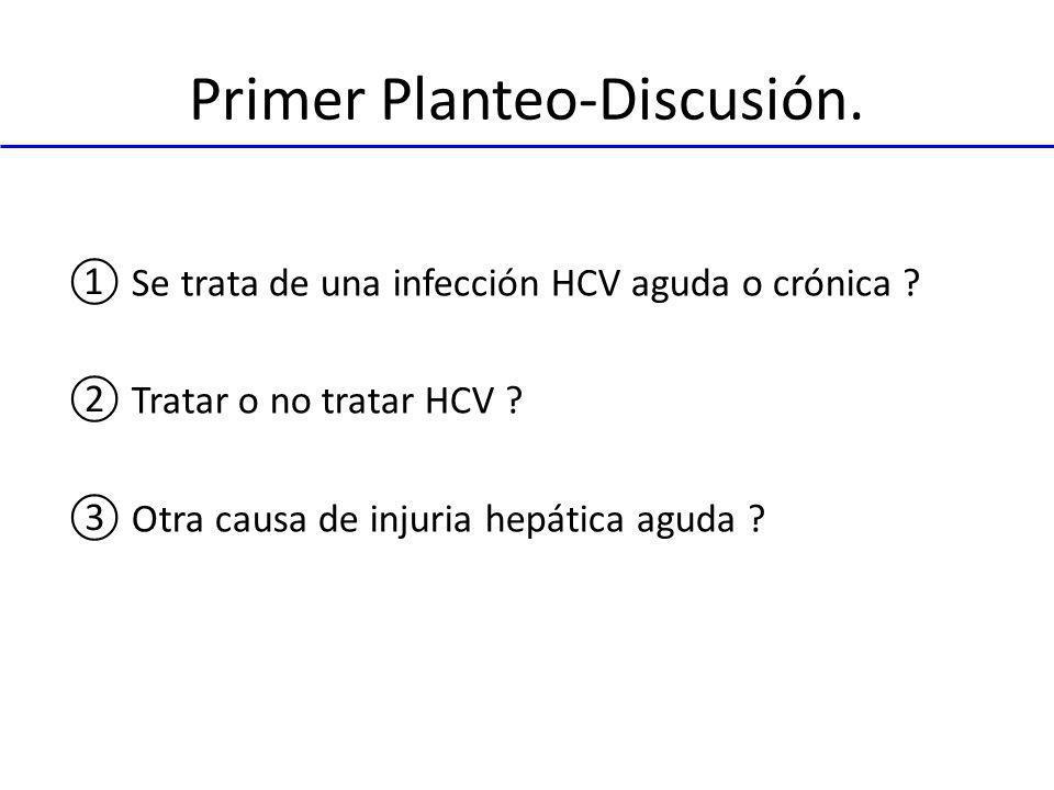 Primer Planteo-Discusión. Se trata de una infección HCV aguda o crónica ? Tratar o no tratar HCV ? Otra causa de injuria hepática aguda ?