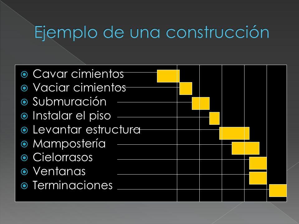 Cavar cimientos Vaciar cimientos Submuración Instalar el piso Levantar estructura Mampostería Cielorrasos Ventanas Terminaciones