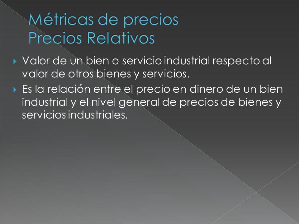 Valor de un bien o servicio industrial respecto al valor de otros bienes y servicios. Es la relación entre el precio en dinero de un bien industrial y