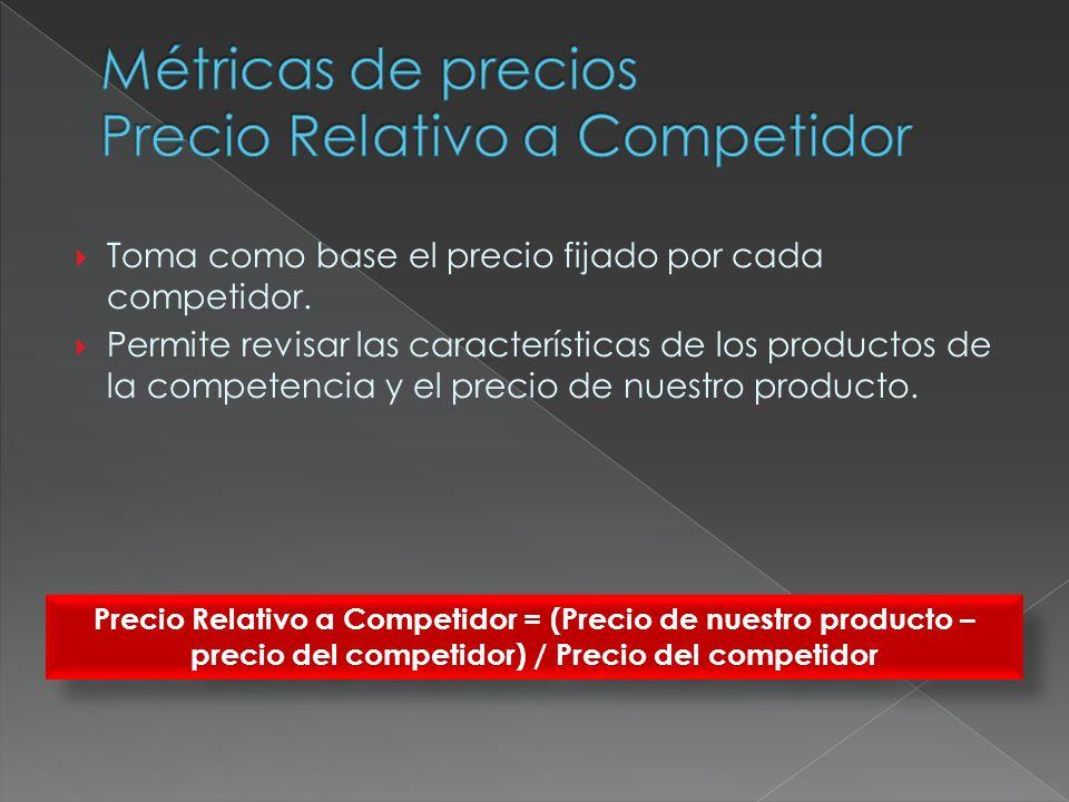 Toma como base el precio fijado por cada competidor. Permite revisar las características de los productos de la competencia y el precio de nuestro pro