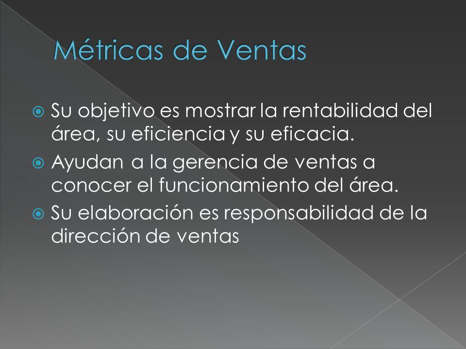 Su objetivo es mostrar la rentabilidad del área, su eficiencia y su eficacia. Ayudan a la gerencia de ventas a conocer el funcionamiento del área. Su