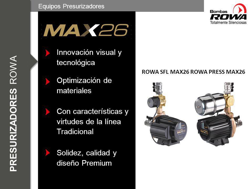 Tanque elevado ROWASFL ROWA SFL MAX26 Equipos Presurizadores Para instalaciones de 1 a 6 baños Se instala en la bajada del tanque elevado antes del colector Accionamiento a partir del pasaje de 1,5 l/min de agua
