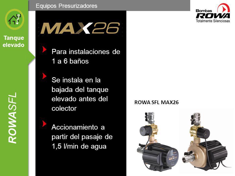 Tanque elevado ROWASFL Se apaga al cerrarse el consumo Presuriza solo en los momentos en que se activa el consumo Apto para instalaciones con más de 20 años ROWA SFL MAX26 Equipos Presurizadores