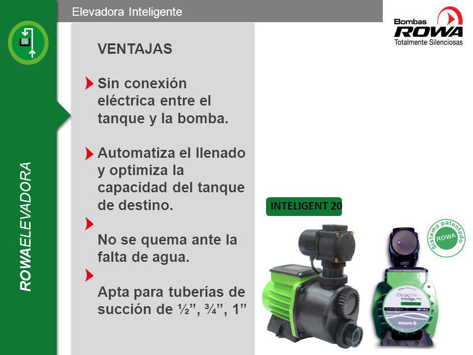 ROWAELEVADORA Elevadora Inteligente Ventajas VENTAJAS La INTELIGENT 20 mantiene la instalación mejor preparada ante suministros deficientes e irregulares de la red de agua.