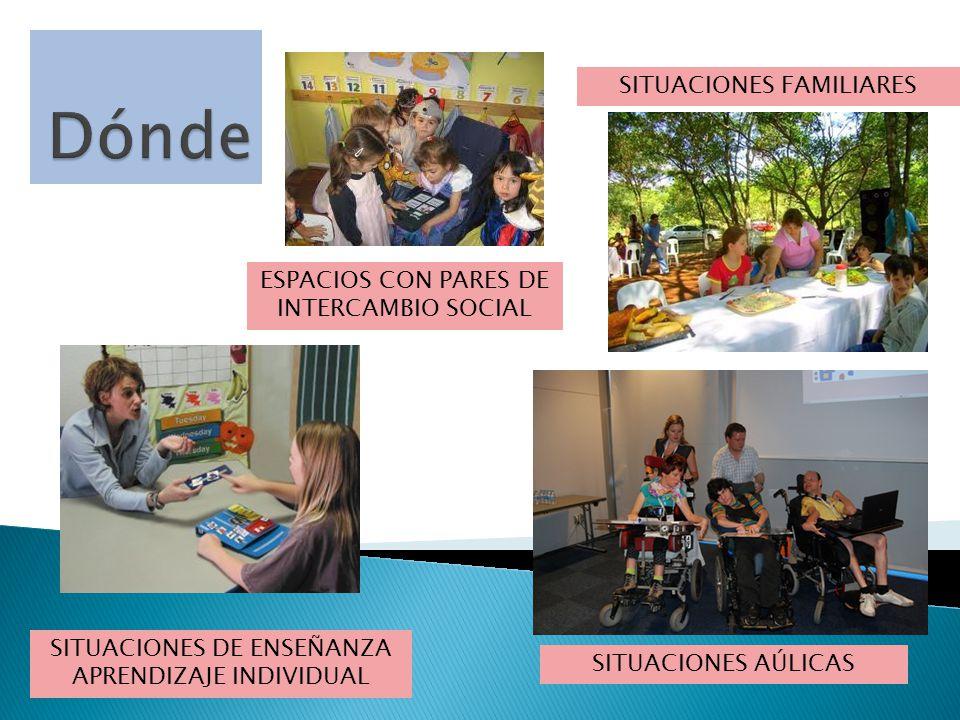 SITUACIONES DE ENSEÑANZA APRENDIZAJE INDIVIDUAL SITUACIONES FAMILIARES ESPACIOS CON PARES DE INTERCAMBIO SOCIAL SITUACIONES AÚLICAS
