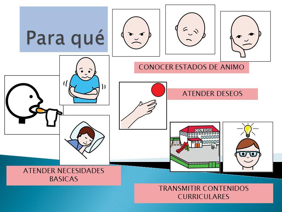 ATENDER NECESIDADES BASICAS CONOCER ESTADOS DE ANIMO ATENDER DESEOS TRANSMITIR CONTENIDOS CURRICULARES