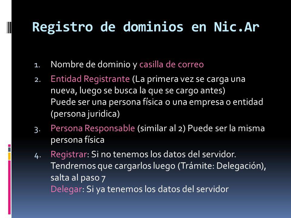 Registro de dominios en Nic.Ar 5.Delegación de Dominio.