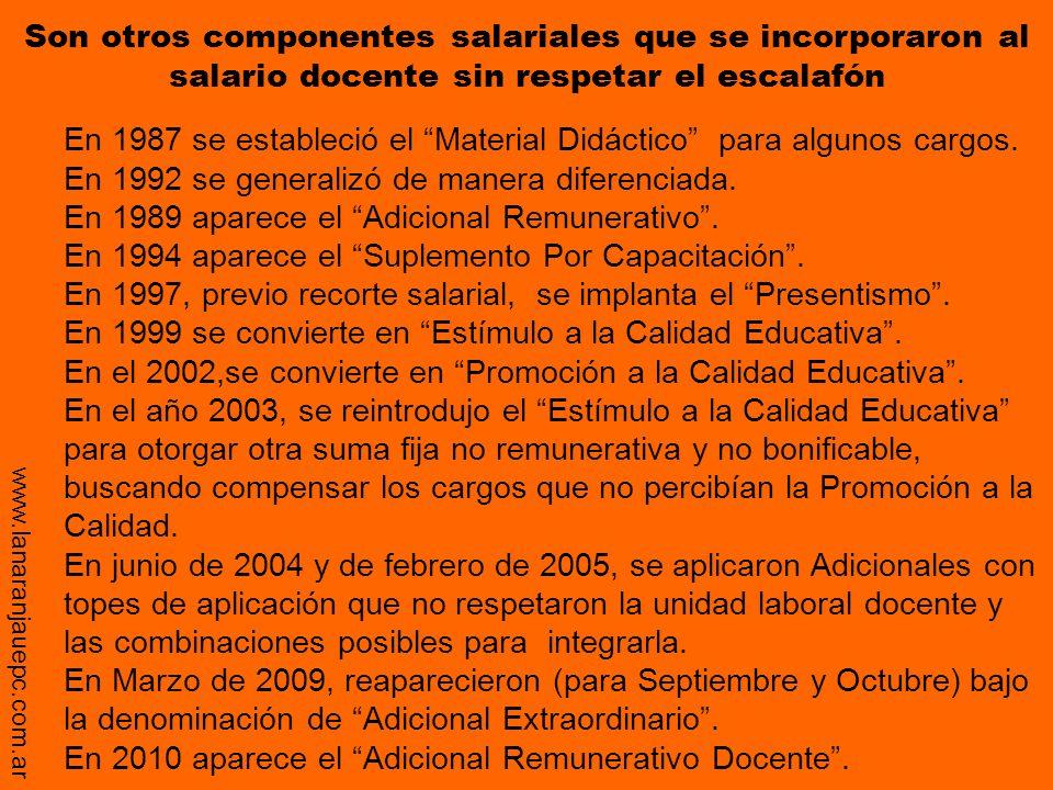 Son otros componentes salariales que se incorporaron al salario docente sin respetar el escalafón En 1987 se estableció el Material Didáctico para alg