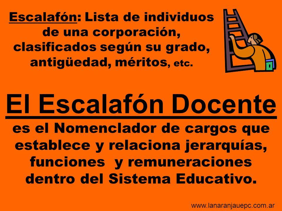El Escalafón Docente es el Nomenclador de cargos que establece y relaciona jerarquías, funciones y remuneraciones dentro del Sistema Educativo. Escala