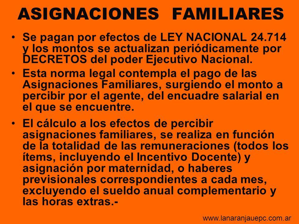 ASIGNACIONES FAMILIARES Se pagan por efectos de LEY NACIONAL 24.714 y los montos se actualizan periódicamente por DECRETOS del poder Ejecutivo Naciona