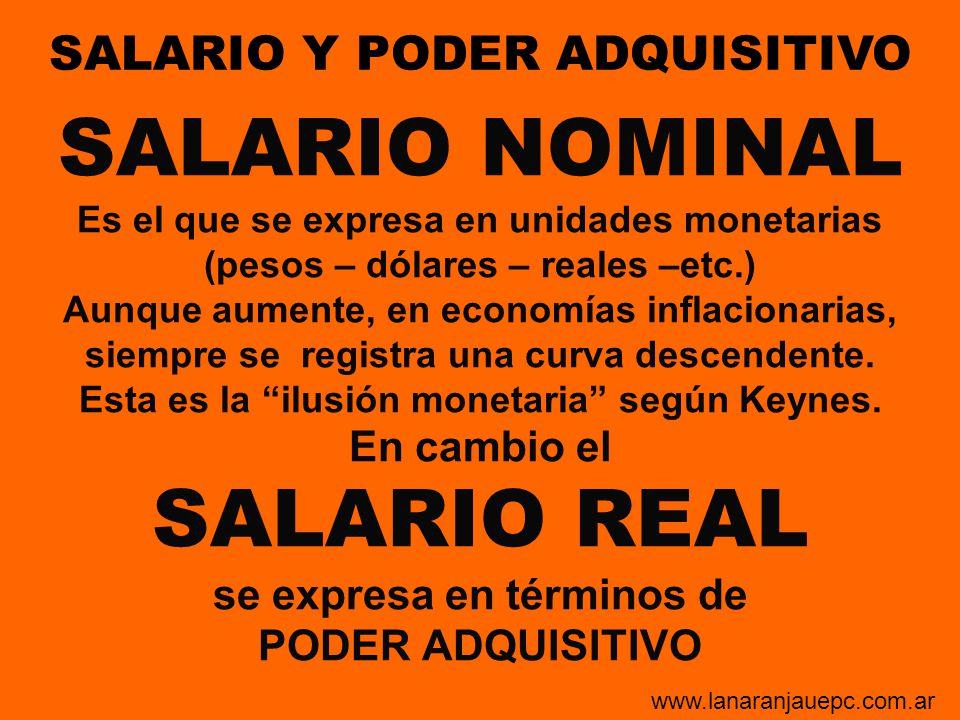 SALARIO NOMINAL Es el que se expresa en unidades monetarias (pesos – dólares – reales –etc.) Aunque aumente, en economías inflacionarias, siempre se r