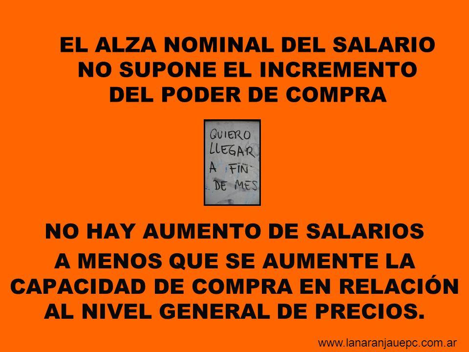 EL ALZA NOMINAL DEL SALARIO NO SUPONE EL INCREMENTO DEL PODER DE COMPRA NO HAY AUMENTO DE SALARIOS A MENOS QUE SE AUMENTE LA CAPACIDAD DE COMPRA EN RE