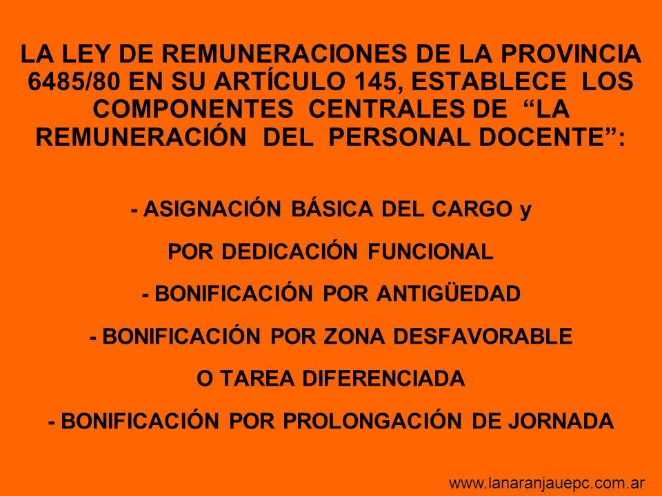 LA LEY DE REMUNERACIONES DE LA PROVINCIA 6485/80 EN SU ARTÍCULO 145, ESTABLECE LOS COMPONENTES CENTRALES DE LA REMUNERACIÓN DEL PERSONAL DOCENTE: - AS