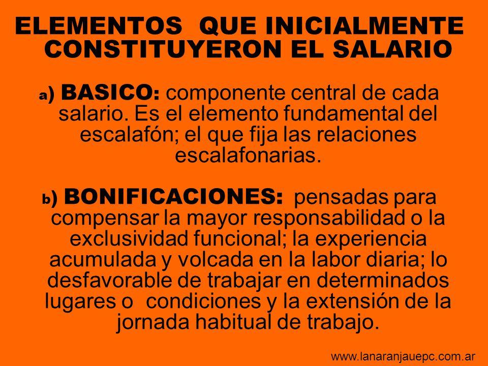 ELEMENTOS QUE INICIALMENTE CONSTITUYERON EL SALARIO a ) BASICO : componente central de cada salario. Es el elemento fundamental del escalafón; el que