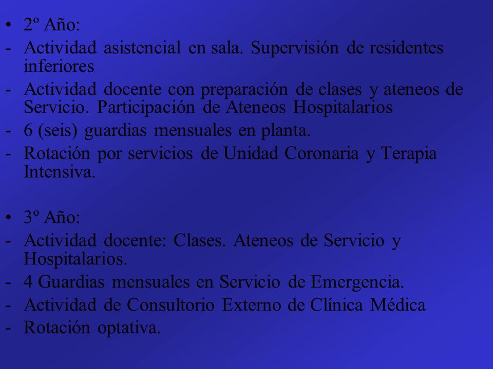 2º Año: -Actividad asistencial en sala. Supervisión de residentes inferiores -Actividad docente con preparación de clases y ateneos de Servicio. Parti