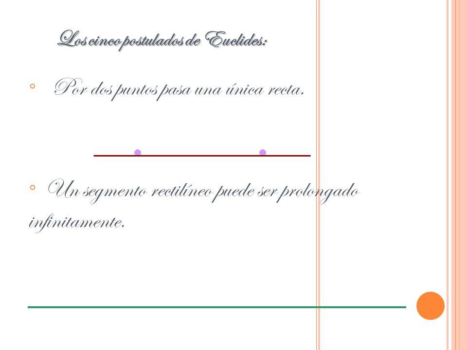 ° Por dos puntos pasa una única recta. Los cinco postulados de Euclides: ° Un segmento rectilíneo puede ser prolongado infinitamente.