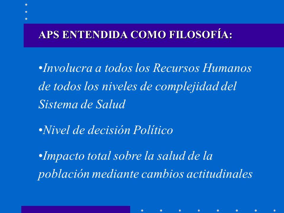 APS ENTENDIDA COMO FILOSOFÍA: Involucra a todos los Recursos Humanos de todos los niveles de complejidad del Sistema de Salud Nivel de decisión Políti