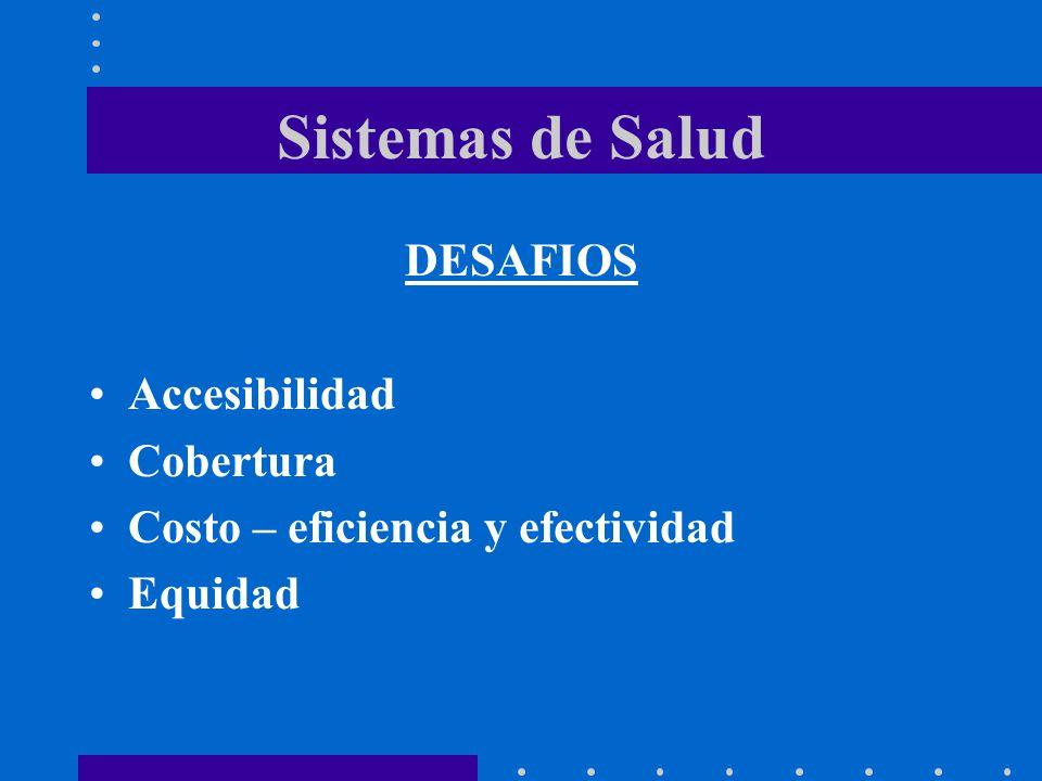 Sistemas de Salud DESAFIOS Accesibilidad Cobertura Costo – eficiencia y efectividad Equidad