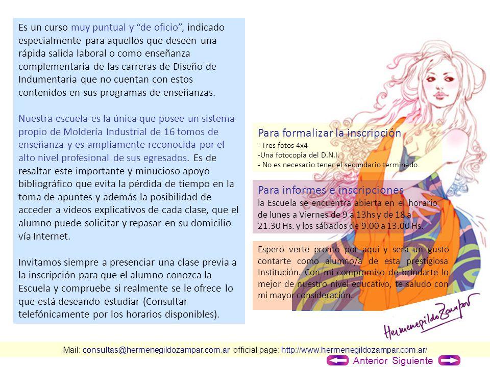 Mail: consultas@hermenegildozampar.com.ar official page: http://www.hermenegildozampar.com.ar/ Es un curso muy puntual y de oficio, indicado especialm