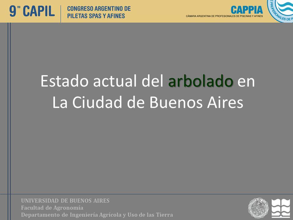 UNIVERSIDAD DE BUENOS AIRES Facultad de Agronomía Departamento de Ingeniería Agrícola y Uso de las Tierra arbolado Estado actual del arbolado en La Ci