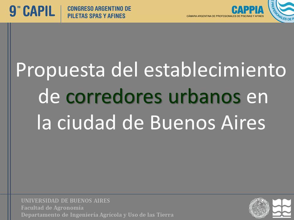 UNIVERSIDAD DE BUENOS AIRES Facultad de Agronomía Departamento de Ingeniería Agrícola y Uso de las Tierra Propuesta del establecimiento corredores urb