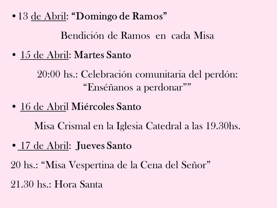 Programa de Semana Santa Carmelitas Descalzos Carmelo de Santa Teresa Casa de Espiritualidad
