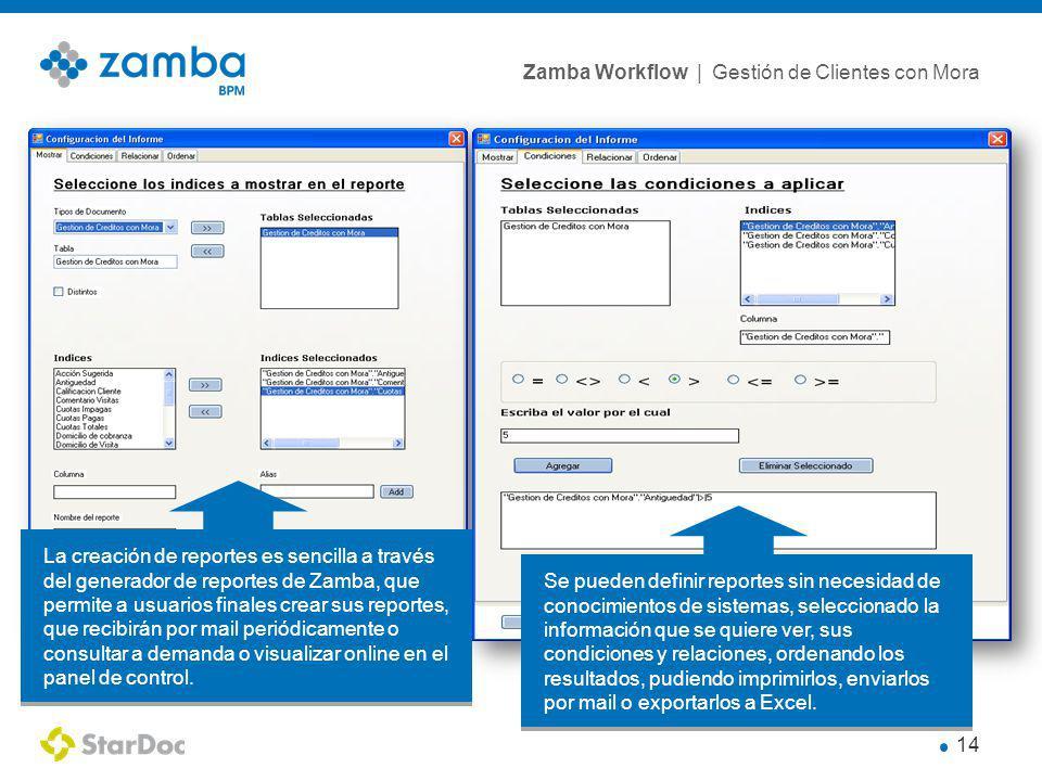Zamba Workflow | Gestión de Clientes con Mora 14 La creación de reportes es sencilla a través del generador de reportes de Zamba, que permite a usuarios finales crear sus reportes, que recibirán por mail periódicamente o consultar a demanda o visualizar online en el panel de control.